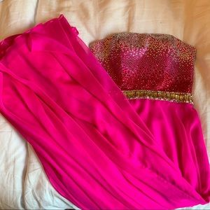 Sherri Hill Pink Long Jeweled Bodice Prom Dress